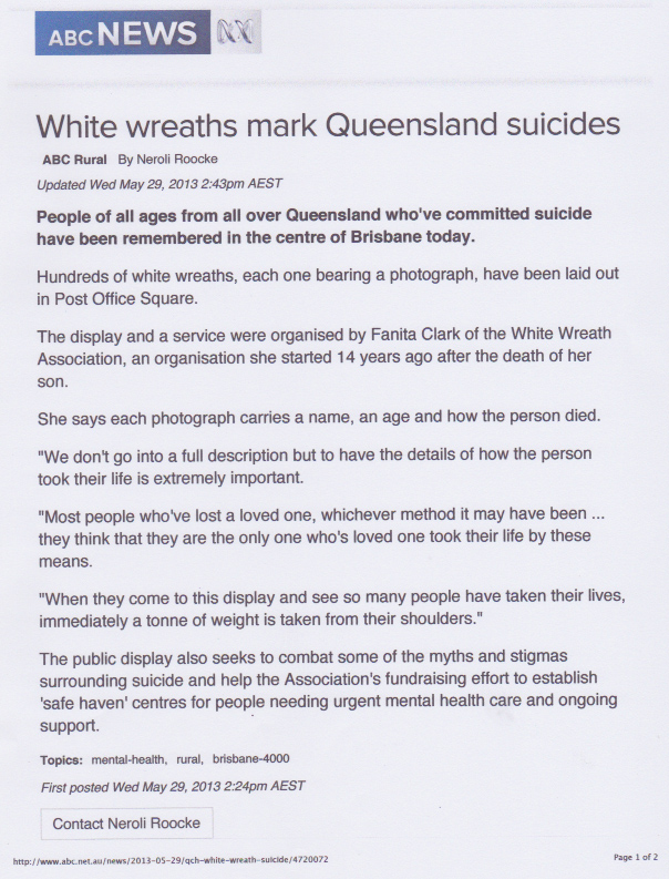 White Wreath marks Queensland suicides
